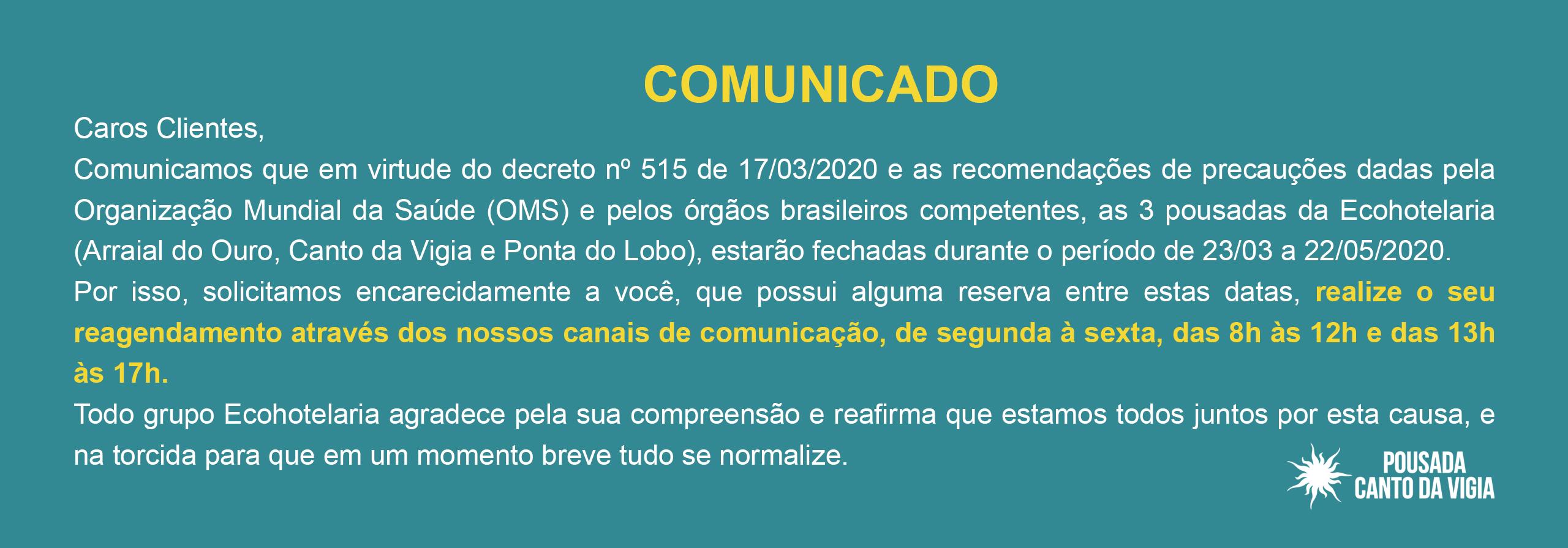 COMUNICADO – CORONAVÍRUS